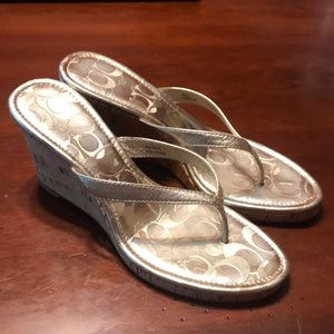 Coach Wedges Sandals Shoes Lanny Silver